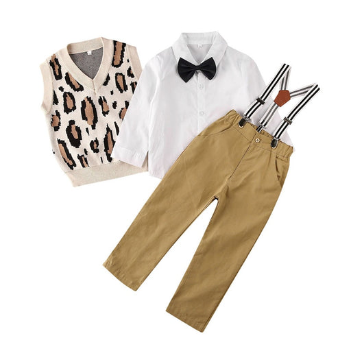 Boys white shirt with bow tie, leopard print knitted vest top, brown long trouser pants and suspender dress set.