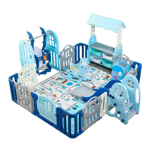 Baby Kids blue playpen, indoor play area activity with slides, cradle, toys and play mat with fence.