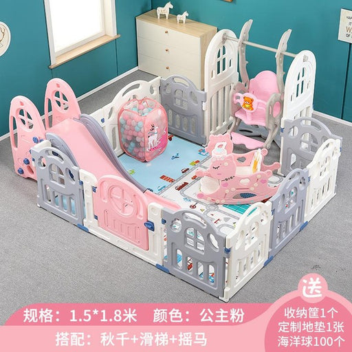 Baby Kids pink playpen, indoor play area activity with slides, cradle, toys and play mat with fence.