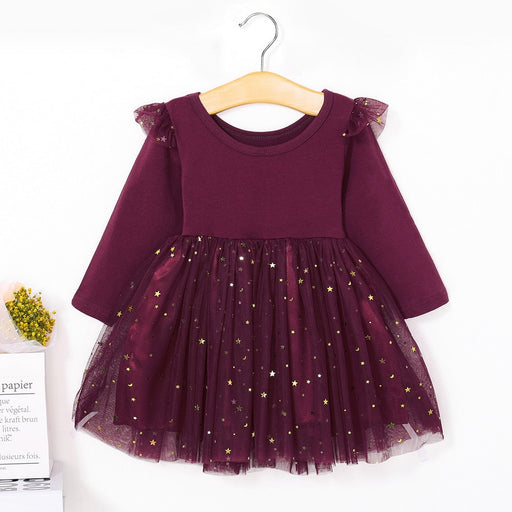 Baby Girls Winter Warm Star Sequin Frilled Frock | Girls Party Wear