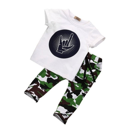 Baby Boys T-Shirt Top & Camouflage Print Pant | Boys Clothing Set