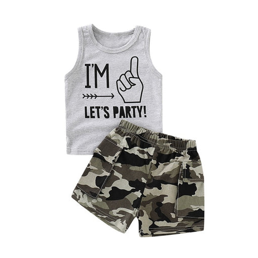 Baby Boys Vest T-Shirt & Camouflage Shorts | Boys Clothing Set