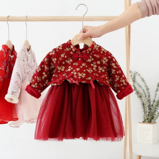 Baby Girl Chinese Style Frilled Mesh Frock | Girls Fashion Party Dress
