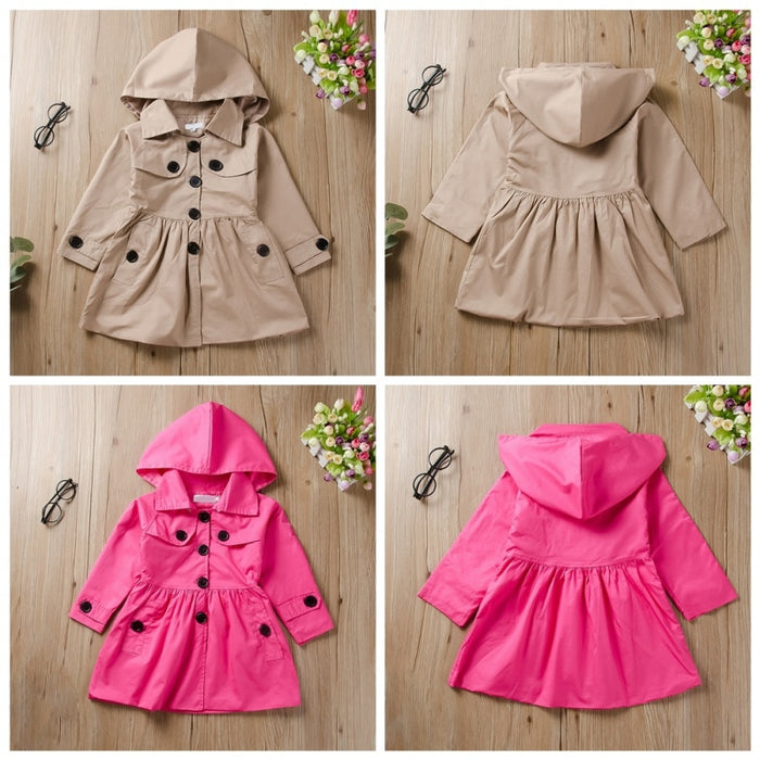 Autumn Winter Casual Fashion Baby Girl Solid Color Long Sleeve Solid Multiple Color Clothes Hooded Coats Windbreaker Outerwear - KiddyLanes