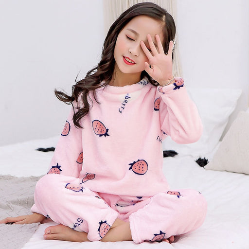 Boys & Girls Winter Warm T-Shirt Pajama Set | Kids Thermal Sleepwear