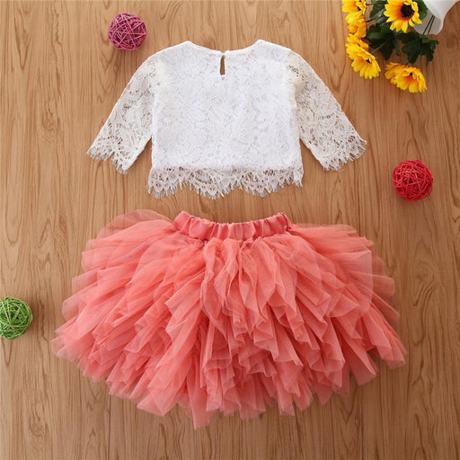 Girls lace, half sleeve white top and elastic waist mesh frilled skirt, party wear dress set.