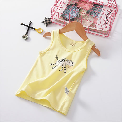 Kids zebra print sleeveless cotton thin tank top, yellow inner wear vest.