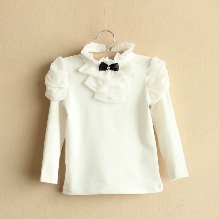 Children Fashion Brand Girls Spring Autumn Cotton Blouse, Kids Girl Solid Retro Blouse Baby Girls Princess Bowknot Shirts - KiddyLanes
