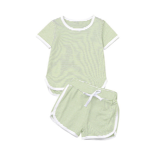Baby Kids striped cotton green top and shorts, summer dress set.