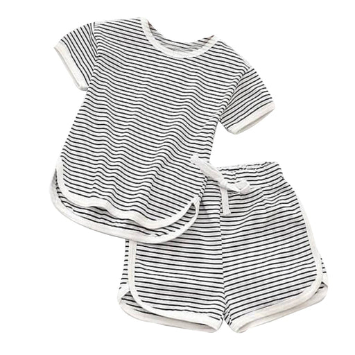 Baby Kids striped cotton black top and shorts, summer dress set.