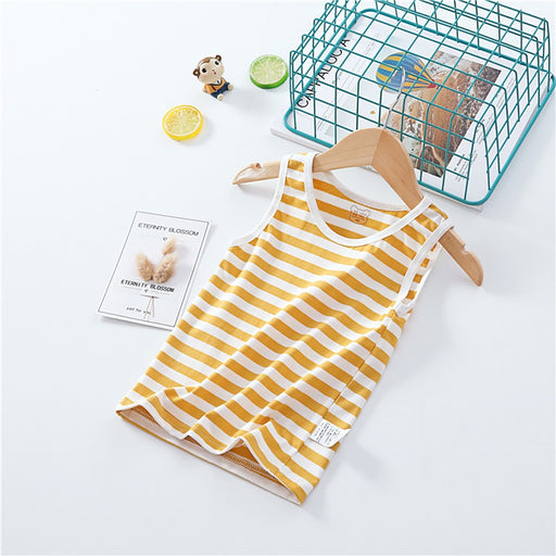Kids white & yellow striped print thin summer tank top, inner vests.