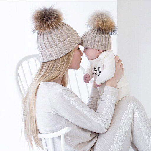 Mom and Baby Matching Knitted Hats Warm Fleece Crochet Beanie Hats Winter Mink PomPom Kids Children Mommy Headwear Hat Caps - KiddyLanes