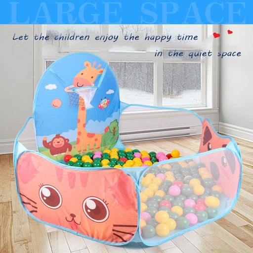 Baby Kids net fence tent play house, basketball stand, colorful balls, cartoon print ball pool.