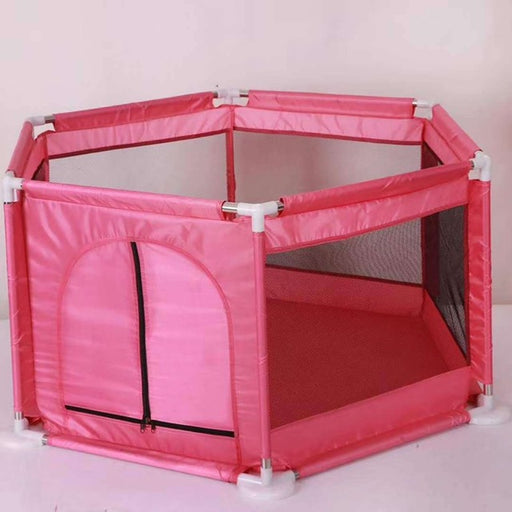 Baby Kids indoor mesh net fencing, play house, pink ball pool.
