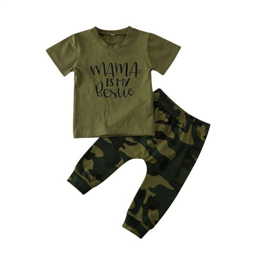 Baby Boys & Girls casual letter print t-shirt top and camouflage pants summer outfit.