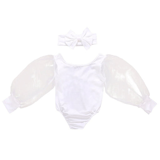 Newborn Girls transparent puffy sleeve & headband, white romper dress set