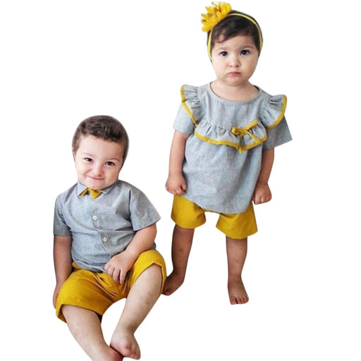 Baby Boys grey collared bow-knot shirt top and yellow shorts & Baby Girls butterfly frilled grey top and yellow shorts summer dress sets.