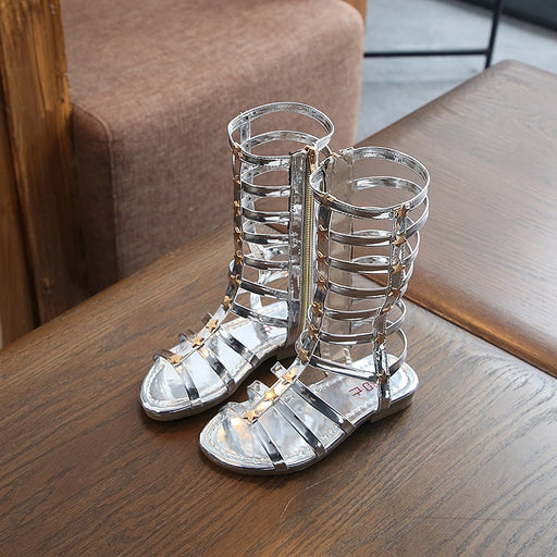 Girls high top glittery & shiny, white roman style zipper gladiator sandals.