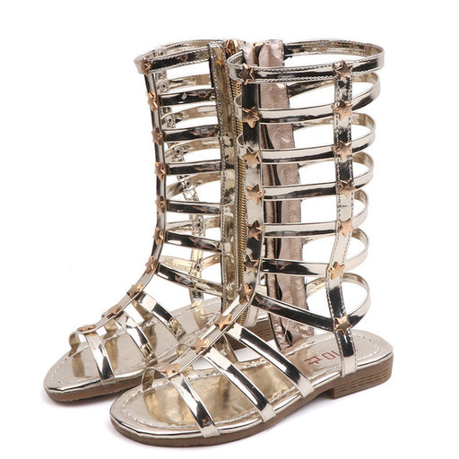 Girls high top glittery & shiny, golden roman style zipper gladiator sandals.