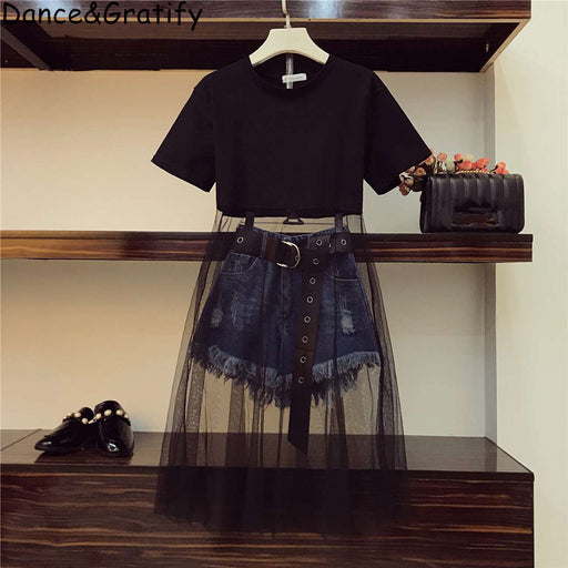 Girls mesh, cotton black t-shirt long top and ripped, belted denim shorts clothes set.