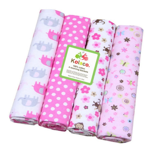 Newborn Baby Kids casual print bedding crib and bed sheet pink blankets set.