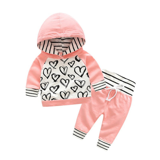 Newborn Baby Girls heart print, cotton hooded pink sweatshirt top and pant winter clothing set.