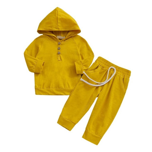 Newborn Boys & Girls cotton hooded yellow pullover and pant clothing set.