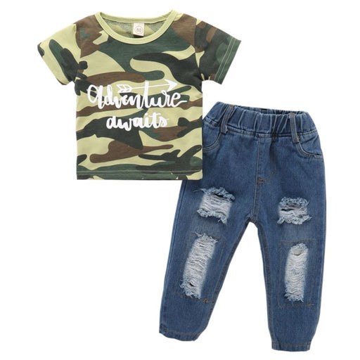 Boys cotton camouflage T-Shirt & Jeans Pant Outfit.