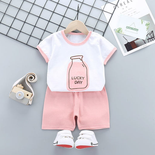 Baby Kids casual print white t-shirt top and pink shorts, home wear summer dress set.