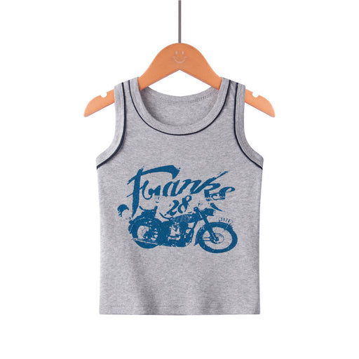 Boys cotton sleeveless casual print inner grey tank top, singlet.