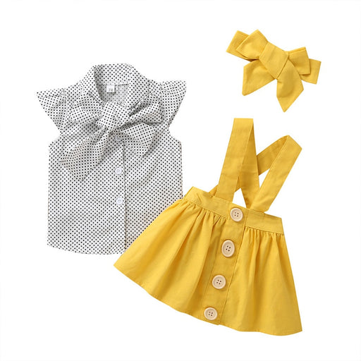 Newborn Baby Girls collared, bow knot, polka dot, petal sleeve top, cross belt, button front frilled yellow skirt and headband clothes set.