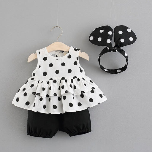 Newborn Baby Girls polka dot print sleeveless, frilled and layered vest top, elastic black shorts and mini mouse headband fashion outfit set.