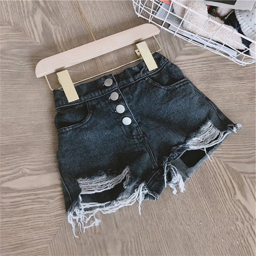 Girls ripped, button front, side pocket, black cotton denim summer fashion shorts.