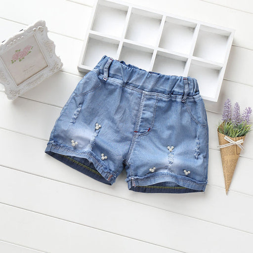 Girls casual beaded, denim jeans summer fashion shorts.