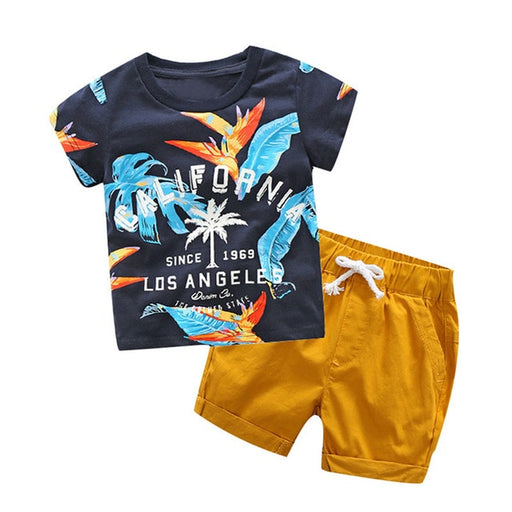 Baby Boys letter and leaf print blue t-shirt and drawstring elastic waist yellow shorts, summer clothing set.