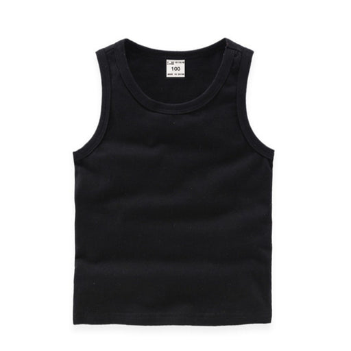Baby Boys sleeveless cotton inner wear vest tops, black singlet tank top.