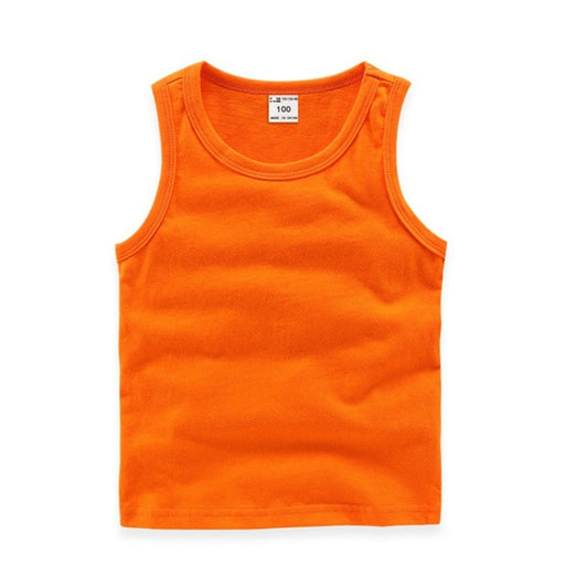 Baby Boys sleeveless cotton inner wear vest tops, orange singlet tank top.