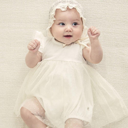 Newborn Baby Girls cotton mesh baptism dress or christening gowns or wedding, first birthday party dress with cap and headband clothing set.