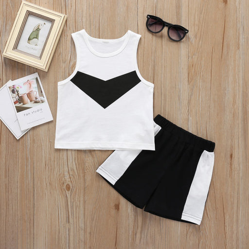 Kids striped cotton black & white vest top and shorts clothes set.