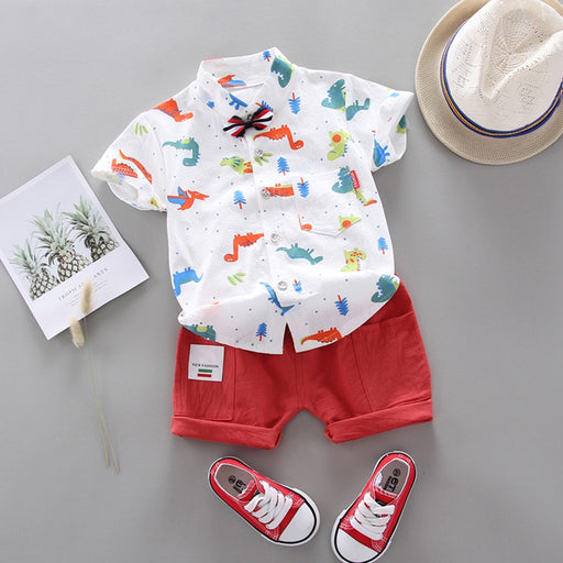 Baby Boys animal print collared white shirt bow-knot and red shorts dress set.