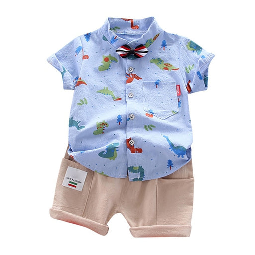Baby Boys animal print collared blue shirt bow-knot and half-white shorts dress set.