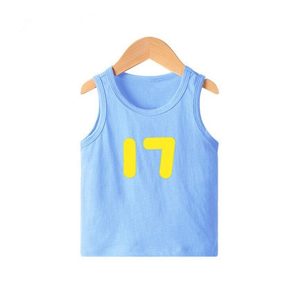 Kids number print sleeveless cotton light blue inner vest tank top.