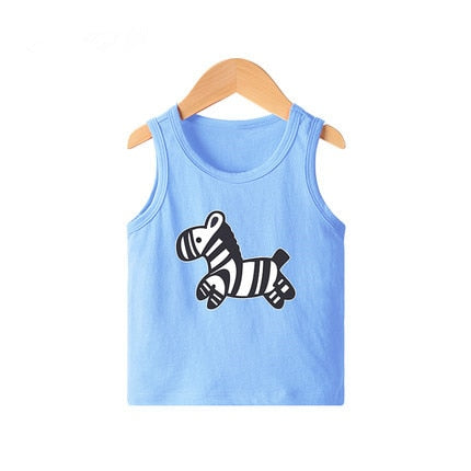 Kids cartoon zebra print sleeveless cotton light blue inner vest tank top.