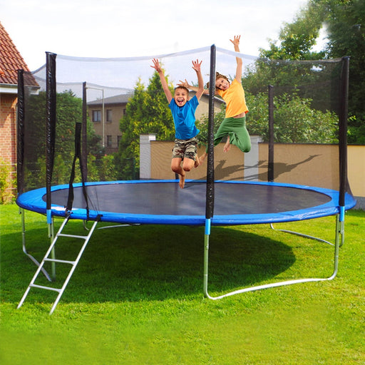 Kids mesh net fencing, side ladder, outdoor jumping exercise bed mat, blue trampoline.