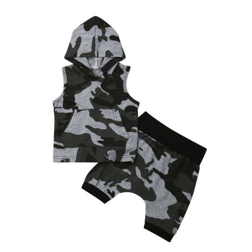 Baby Boys camouflage print hooded sleeveless vest top and elastic waist pant clothes set.