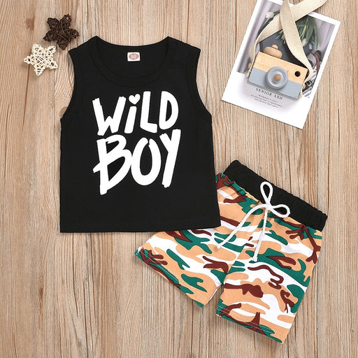 Baby Boys letter print sleeveless black vest top and camouflage print drawstring & elastic waist shorts dress set.