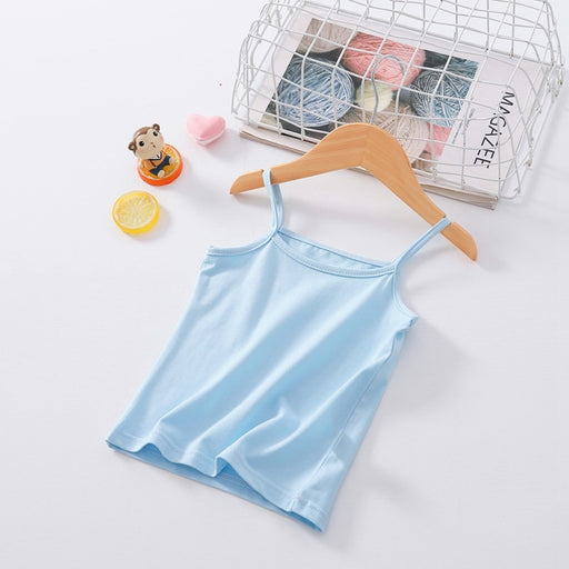 Girls sleeveless cotton light blue inner camisole vest.