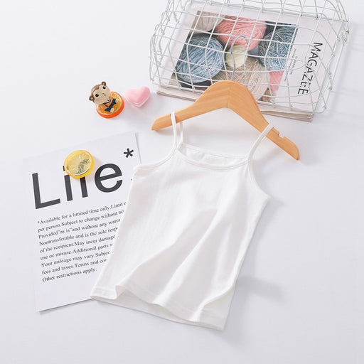Girls sleeveless cotton white inner camisole vest.