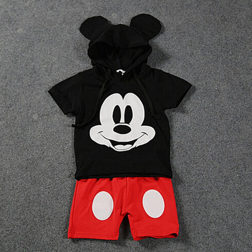 Baby Boys Mickey Mouse print, ear hooded black top and red shorts Disney dress set.