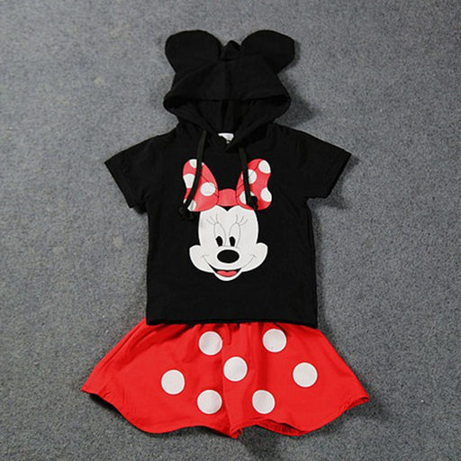 Baby Boys Minnie Mouse print, ear hooded black top and red skirt Disney dress set.